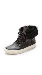 Vince Nyack Fur High Top Sneakers Black Off White