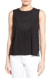 Women's Caslon Embroidered Lace Detail Cotton And Modal Tank Black