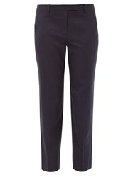The Row Clark Cropped Wool Twill Trousers Navy