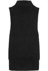 Enza Costa Knitted Turtleneck Vest Black