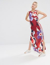 Adidas Originals X Rita Ora Paint Print Chiffon Maxi Dress Multicolour