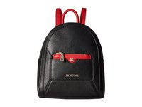 Love Moschino Detachable Pocket Backpack Black Red Backpack Bags