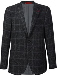 Isaia Checked Donegal Blazer Black