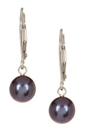 14K White Gold And 7 7.5Mm Black Freshwater Pearl Dangle Earrings