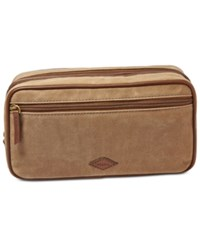 Fossil Double Zip Natural Fabric Shave Kit Khaki