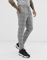 Bershka Skinny Trousers In Grey Check