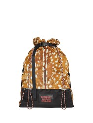 Burberry Deer Print Nylon Drawcord Backpack Brown