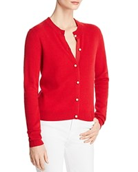 Bloomingdale's C By Faux Pearl Button Cashmere Sweater 100 Exclusive Red
