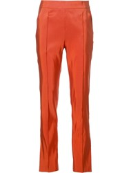 Rosie Assoulin Slim Fit Tailored Trousers Yellow Orange