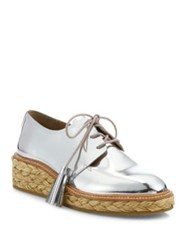 Loeffler Randall Callie Metallic Leather Espadrille Oxfords Silver
