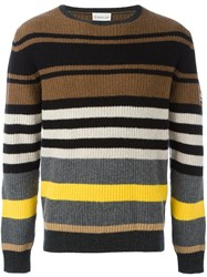 Moncler Striped Ribbed Sweater Brown