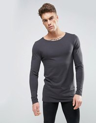 Asos Longline Muscle Long Sleeve T Shirt With Boat Neck In Washed Black Bal