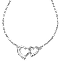 Dower And Hall Sterling Silver Entwined Hearts Pendant Necklace