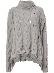 Lost And Found Open Cable Knit Sweater Grey