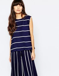 Paisie Stripe Top With Back Vents Navy