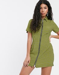 The Ragged Priest Zip Front Shirt Dress In Yellow Check Multi