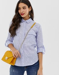 Oasis Shirt Spot Embroidery In Blue Multi
