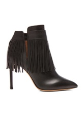 Valentino Rockee Fringe Leather Ankle Boots In Black