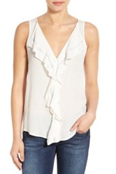 Matty M Ruffled V Neck Sleeveless Blouse White