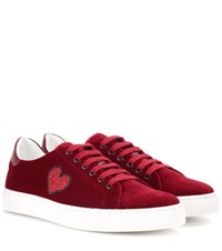 Anya Hindmarch Glitter Heart Velvet Low Top Sneakers Red