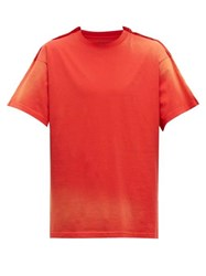 Martine Rose Doubled Bleach Effect Cotton T Shirt Red