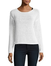 Lord And Taylor Long Sleeve Solid Boxy Sweater White
