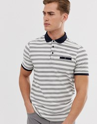 Burton Menswear Short Sleeve Striped Polo Shirt In Navy