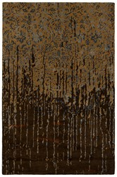 Chandra Rupec Patterned Rectangular Contemporary Area Rug Brown Blue 5' X 7'6