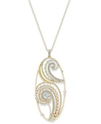 Eliot Danori Gold Tone Crystal Paisley Filigree Pendant Necklace