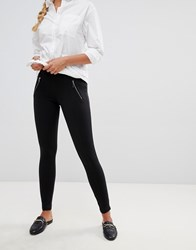 Qed London Slim Fit Trousers With Zip Pocket Black
