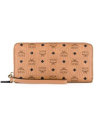 Mcm Zipped Elongated Wallet Brown