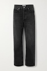 Agolde '90S Distressed Mid Rise Straight Leg Jeans Black