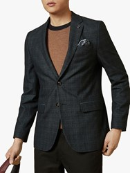 Ted Baker Armagh Check Blazer Teal Blue