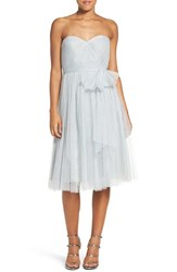Jenny Yoo Women's 'Maia' Convertible Tulle Tea Length Fit And Flare Dress Morning Mist