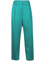 Forte Forte Cropped Straight Leg Trousers Blue