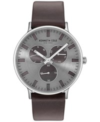 Kenneth Cole New York Men's Brown Leather Strap Watch 46Mm Kc14946001 Silver