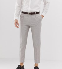 Heart And Dagger Skinny Fit Cropped Pleated Trouser In Linen Grey