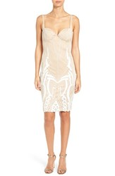 Women's Katie May 'Cara' Backless Ribbon Lace Embroidered Tulle Sheath Dress
