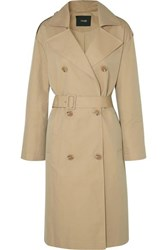 Maje Belted Cotton Canvas Trench Coat Beige