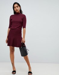 Y.A.S Knitted Flare Mini Skirt Red