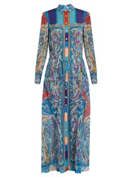 Etro Paisley Print Silk Dress Blue