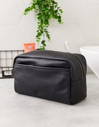 Timberland Leather Wash Bag In Black