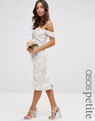 Asos Petite Wedding Jacquard Midi Pencil Dress Multi