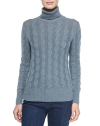 Loro Piana Cashmere Cable Knit Turtleneck Sweater Seabed Melange