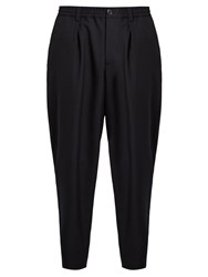 Marni Tapered Wool Pique Trousers Navy