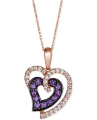 Le Vian Princess Alexandra White Sapphire 1 2 Ct. T.W. And Amethyst 1 3 Ct. T.W. Heart Pendant Necklace In 14K Rose Gold