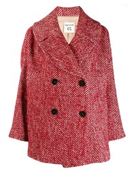Semicouture Double Breasted Coat Red