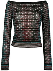 M Missoni Striped Knit Top Black