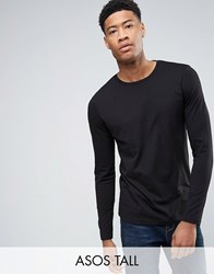 Asos Tall Long Sleeve T Shirt With Crew Neck Black