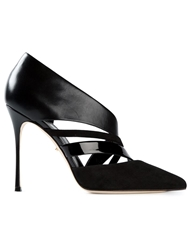 Sergio Rossi Cut Out Suede And Leather Pumps Black